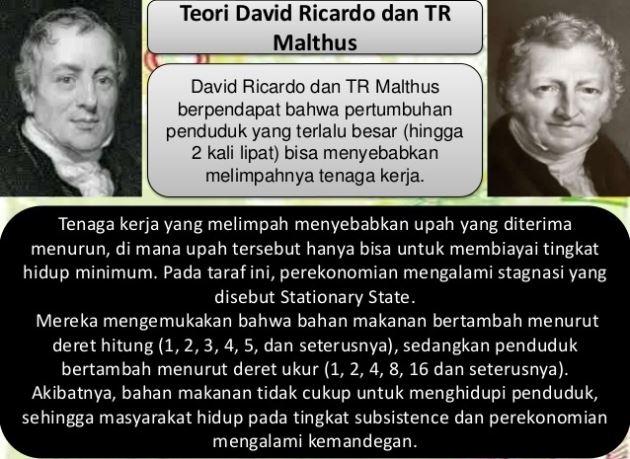 Teori Pertumbuhan ekonomi menurut David Ricardo dan TR Malthus